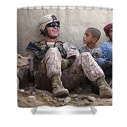 A U.s. Marine Jokes With Afghan Shower Curtain by Stocktrek Images