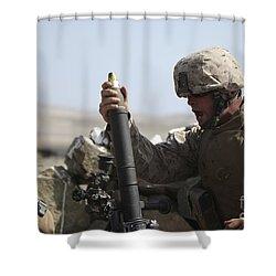 A U.s. Marine Loads A Mortar Shower Curtain by Stocktrek Images