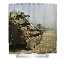 A U.s. Marine Uses An M-240b Machine Shower Curtain by Stocktrek Images