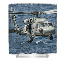 A Us Navy Sh-60f Seahawk Flying Shower Curtain by Giovanni Colla