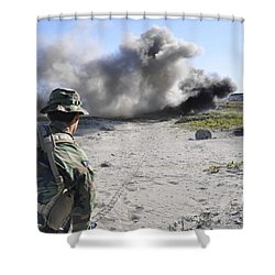 A U.s. Navy Student In Basic Underwater Shower Curtain by Stocktrek Images