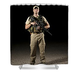 A U.s. Police Officer Contractor Shower Curtain by Terry Moore