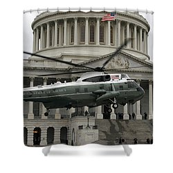 A Vh-60 Helicopter Lands In Front Shower Curtain by Stocktrek Images