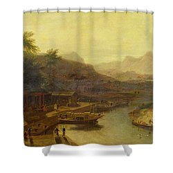 A View In China - Cultivating The Tea Plant Shower Curtain by William Daniell