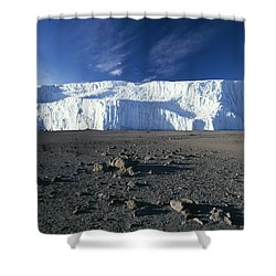 A View Of Mount Kilimanjaros Summit Shower Curtain by David Pluth