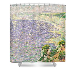 A View Of The Cliffs Of Etretat Shower Curtain by Claude Emile Schuffenecker