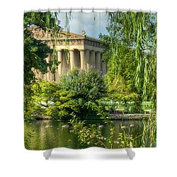 A View Of The Parthenon 13 Shower Curtain by Douglas Barnett