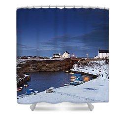 A Village On The Coast Seaton Sluice Shower Curtain by John Short
