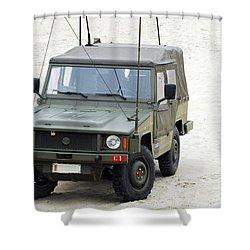 A Vw Iltis Jeep Of A Unit Of Belgian Shower Curtain by Luc De Jaeger