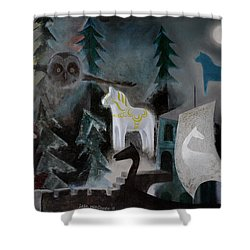 A White Horse Shower Curtain by Jukka Nopsanen