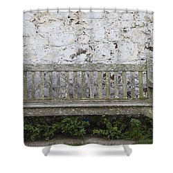 A Wooden Bench With Peeling Paint Shower Curtain by John Short
