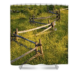 A Wooden Rail Fence Surrounded By Shower Curtain by David Chapman