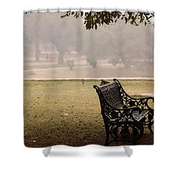 A Wrought Iron Black Metal Bench Under A Tree In The Qutub Minar Compound Shower Curtain by Ashish Agarwal