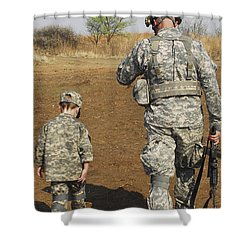A Young Boy Joins His Squad Leader Shower Curtain by Stocktrek Images
