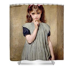 A Young Girl In The Classroom Shower Curtain by Charles Sillem Lidderdale