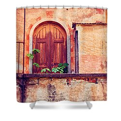 Abandoned Building Door With Leaves Shower Curtain by Silvia Ganora