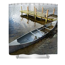 Shower Curtain featuring the photograph Abandoned Canoe by Lynn Bolt