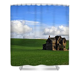 Abandoned House On Green Pasture Shower Curtain by Steve McKinzie