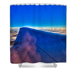 Above The Clouds On A 757 Shower Curtain by David Patterson