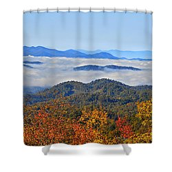 Above The Clouds Shower Curtain by Susan Leggett