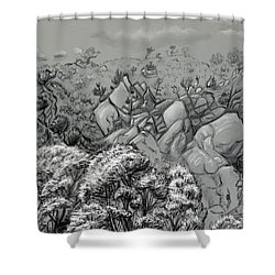 Above The Treetops Field Sketch Shower Curtain by Dawn Senior-Trask