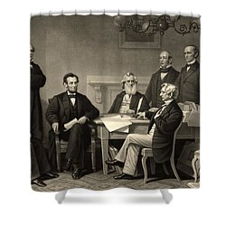 Shower Curtain featuring the photograph Abraham Lincoln At The First Reading Of The Emancipation Proclamation - July 22 1862 by International  Images