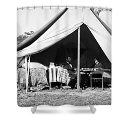 Shower Curtain featuring the photograph Abraham Lincoln Meeting With General Mcclellan - Antietam - October 3 1862 by International  Images