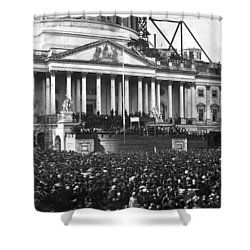 Shower Curtain featuring the photograph Abraham Lincolns First Inauguration - March 4 1861 by International  Images