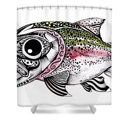 Abstract Alaskan Rainbow Trout Shower Curtain by J Vincent Scarpace