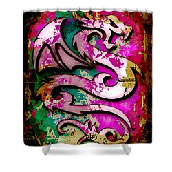 Abstract Dragon Shower Curtain by David G Paul