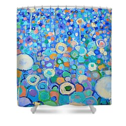 Abstract Flowers Field Shower Curtain by Ana Maria Edulescu