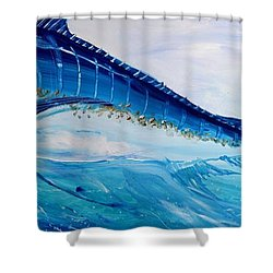 Abstract Marlin Shower Curtain by J Vincent Scarpace