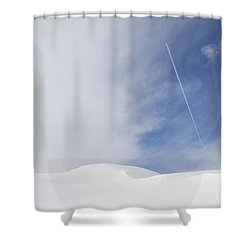 Abstract Minimalist Winter Landscape - Snow And Blue Sky Shower Curtain by Matthias Hauser