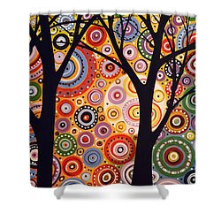 Abstract Modern Tree Landscape Distant Worlds By Amy Giacomelli Shower Curtain