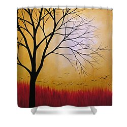 Abstract Original Tree Painting Summers Anticipation By Amy Giacomelli Shower Curtain