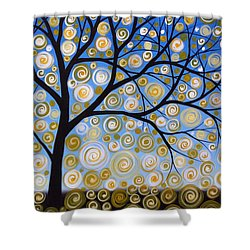 Abstract Tree Nature Original Painting Starry Starry By Amy Giacomelli Shower Curtain