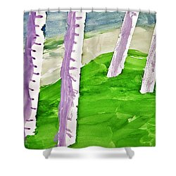 Abstract Trees Shower Curtain by Susan Leggett
