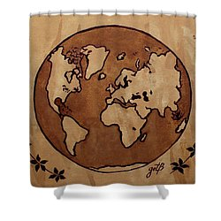 Abstract World Globe Map Coffee Painting Shower Curtain