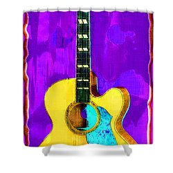Acoustic Guitar Abstract Shower Curtain by David G Paul