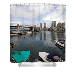 Shower Curtain featuring the photograph Across False Creek by John Schneider