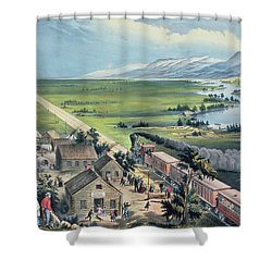 Across The Continent Shower Curtain by Currier and Ives