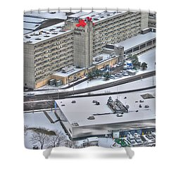Adams Mark And Ch7 In Winters Blanket Shower Curtain by Michael Frank Jr