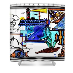 Shower Curtain featuring the drawing Admiral by Danielle  Parent