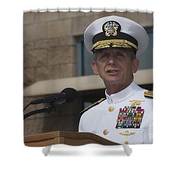 Admiral Eric Olson Speaks Shower Curtain by Michael Wood