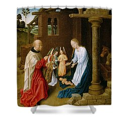 Adoration Of The Christ Child  Shower Curtain by Master of San Ildefonso