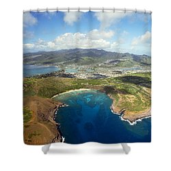 Aerial Of Hanauma Bay Shower Curtain by Ron Dahlquist - Printscapes