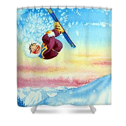 Aerial Skier 13 Shower Curtain by Hanne Lore Koehler