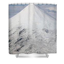 Aerial View Of Glaciated Shishaldin Shower Curtain by Richard Roscoe