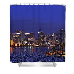 Aerial View Of San Diego Skyline With Shower Curtain by Stuart Westmorland