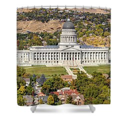 Aerial View Of Utah State Capitol Building Shower Curtain by Gary Whitton